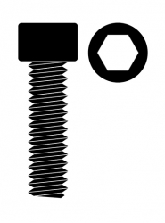 Ocelový Inbusový šroub s válcovou hlavou, M2x10mm, 10 ks.
