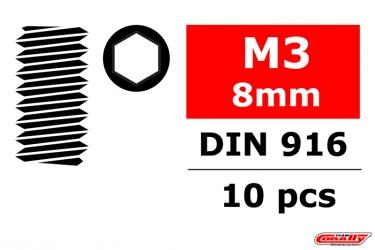 Ocelový Inbusový červík, M3x8mm, 10 ks.