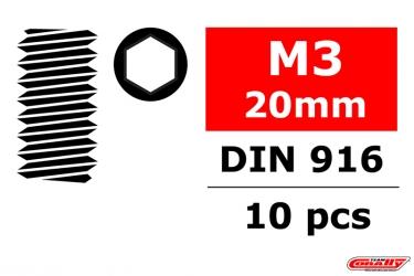 Ocelový Inbusový červík, M3x20mm, 10 ks.